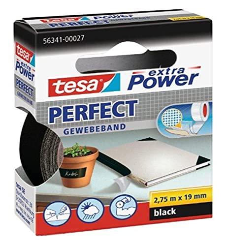 tesa extra Power Perfect Gewebeband - Gewebeverstärktes Ductape zum Basteln, Reparieren, Befestigen, Verstärken und Beschriften - Schwarz - 2,75 m x 19 mm