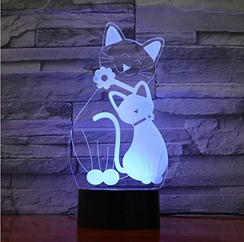 Mignon Flash Chat Lampe 7 Couleurs Changeant Veilleuse Atmosphère Lumière 3D Kitty Humeur Tactile Lampe Décor À La Maison Enfants