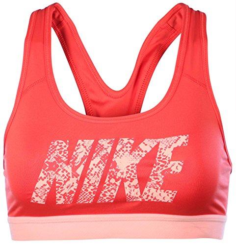 Nike Damen PRO Classic Logo Bra Sport BH, Rot, L
