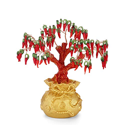Glaze Crystal Money Tree Indoor Feng Shui Decoration Good Luck Bonsai Tree Home Office Zen Meditation Decor,Housewarming and Good Gifts for Moms and Friends(Purse Chili)