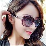 【sanwa select】ファッションサングラス レディース 小顔 紫外線カット UV400カット 偏光 おしゃれ かわいい おおきめ (ブラック)
