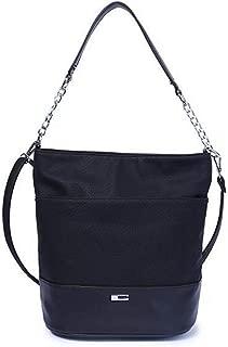 Fine Bag/Bucket Bag Large Capacity Handbag Casual Shoulder Diagonal Bag Length Shoulder Strap Exquisite Handbag Multi-Pocket Capacity (Color : Black, Size : One Size)