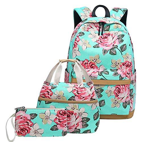 Canvas School Backpack Teens Backpack School Bag Backpack for School Book Bag set (Floral-water blue)