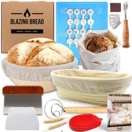 Most Complete Bread Banneton Proofing Basket Set - Round & Oval Proofing Baskets for Sourdough Bread Lame Whisk Dough Scraper Bread Bag | 100% Natural Rattan Cane Ideal Bread Making Gift for Bakers