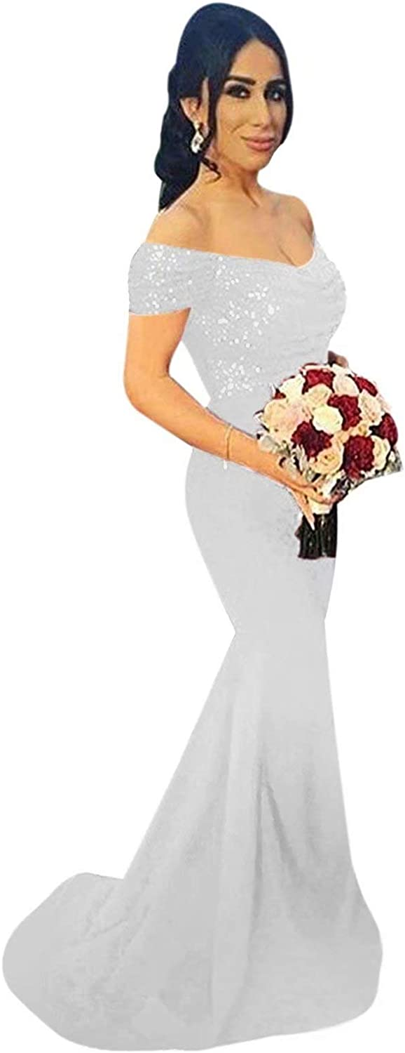 LeoGirl Women's Off Shoulder Sequins Satin Bridesmaid Dress Long Mermaid Wedding Party Gowns 2021
