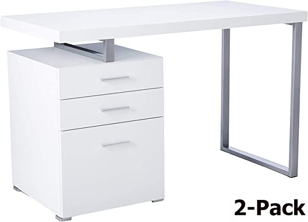 Monarch Specialties Reclaimed Look Left Right Facing Desk White 2 Pack