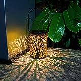 Mobestech Lanterna da Tavolo Solare Lanterna da Giardino Solare Vintage con Motivo a Foglia di Metallo Lanterna a Sospensione Solare per Giardino Esterno 1 Pz