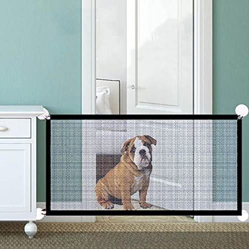Southwind Dog Gate Portable Dog Fences Indoor Folding Safety Dog Gates for Doorways Pet Puppy Gate Gauze Retractable Gate for Dogs 82x27in Extra Wide Dog Gates for House Indoor Outdoor