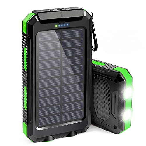 Solar Phone Charger, 20000mAh Portable Solar Power Bank for Cell Phone, with Dual USB Output External Battery Pack, Ultra Bright 2 LED Flashlights, Perfect for Outdoor | Camping | Hiking | Emergency