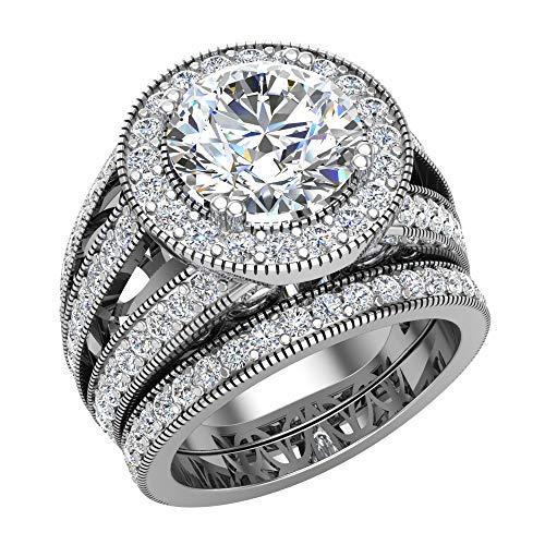Moissanite wedding rings set for women 14K White Gold Real accented diamond ring 9.10 mm 4.95 carat tw
