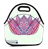 Lunch Bag,Printed Insulated Lunch Box School Picnic Thermal Carrying Gourmet Food Container lotos flower ethnic tribal style boho print trendy high detailed cactus perfectly look bags fabric etc