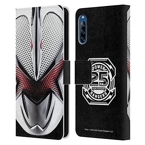 Head Case Designs sous Licence Officielle Power Rangers Blanc Dino Tonnerre Casque célèbre Coque en Cuir à Portefeuille Compatible avec Sony Xperia L4