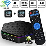 TV Box,Android 7.1 TV Box 3GB RAM/ 32GB ROM, Amlogic S912 Octa-Core 64 Bits Processor, Android TV Box 2.4GHz/5GHz WiFi, 1000M Ethernet LAN, UHD 4k Bluetooth 4.0