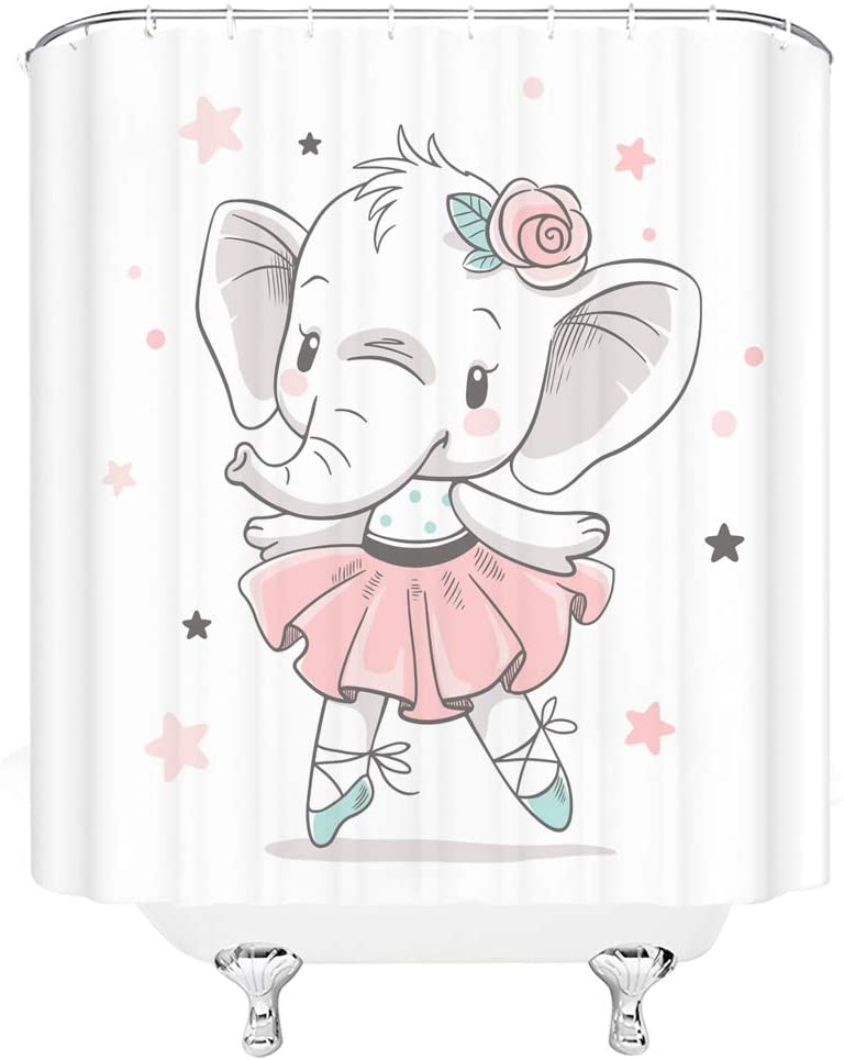 Xnichohe Cartoon Elephant Shower Selling and selling Curtain Danc outlet Girl Baby