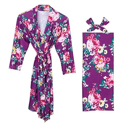ABOOFAN 3 Piezas para Mujer Charmeuse Kimono Robe Long Sleepwear Rose Printed Blanket Diadema Maternidad Embarazo Enfermería Albornoz Cintura Dama de Honor Boda Camisón