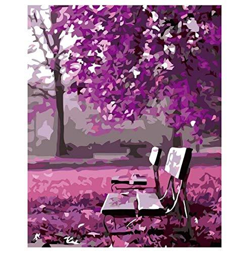 Landschaftsbild Gezeichnet Von Digitalem Baum Gemalt Auf Leinwand Handgemaltes Kunstkit Diy Geschenk Hauptdekoration 40X50Cm