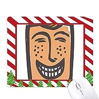 笑いの抽象的な顔スケッチ絵文字 ゴムクリスマスキャンディマウスパッド