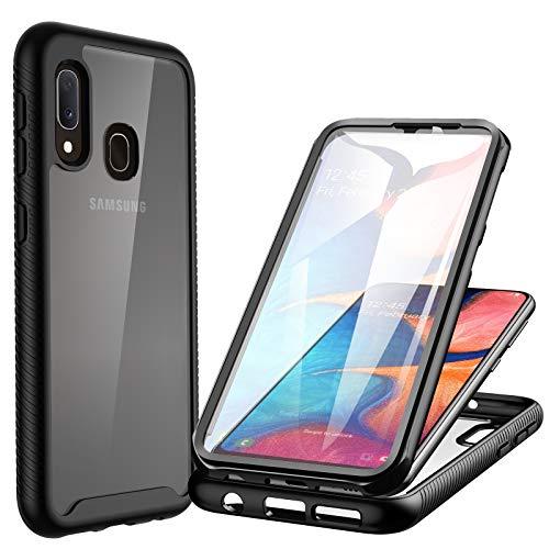 CENHUFO Cover Samsung Galaxy A20E Antiurto Custodia Samsung Galaxy A20E, con Protezione dello Schermo Integrata, 360 gradi Rugged Trasparente Case Armor Bumper Cover per Samsung A20E, Nero