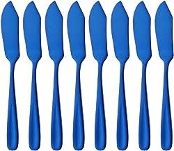"""Buyer Star Cheese Butter Knife, Stainless Steel 18/10 6"""" Mini Desert Knives, Breakfast Slicer Sandwich Spreader,Set of 8 Blue"""