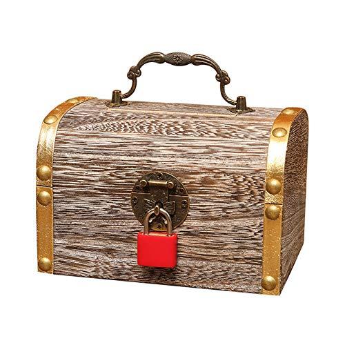 Houten spaarvarken, prachtige houten safe spaarpot bewaarkoffer schat sieraden spaarvarken met sleutels geld geval X-Large Zoals op de afbeelding.