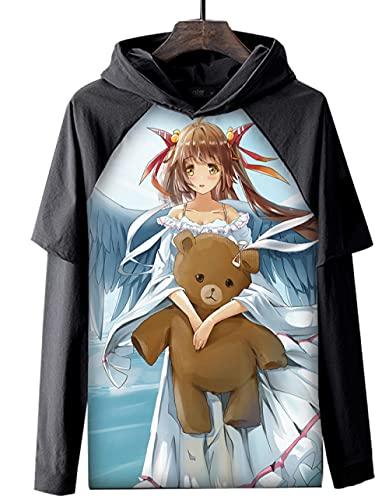 Sudaderas con Capucha,Anime Chica Abrazando A Un Oso Casual Hombres Sudadera con Capucha Manga Larga Cómodo Suave Unisex Tops Negro 3XL