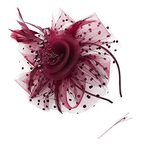 Yinettech - Diadema con pinza para el pelo, diseño de flor y pluma, con perlas