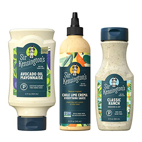 Sir Kensington's Keto Diet Condiments Kit, Avocado Oil Mayo, Classic Ranch, Chile Lime Crema, Keto Diet Certified, Whole 30 Compliant, Sugar-Free, Gluten Free, Non-GMO Verified, Shelf-Stable,Pack of 3