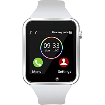 Smart Watch - Sazooy Bluetooth Smart Watch Support Make/Answer Phones Get Messages Compatible Android iOS Phones with Camera Pedometer SIM SD Card Slot for Men Women (Off-White)