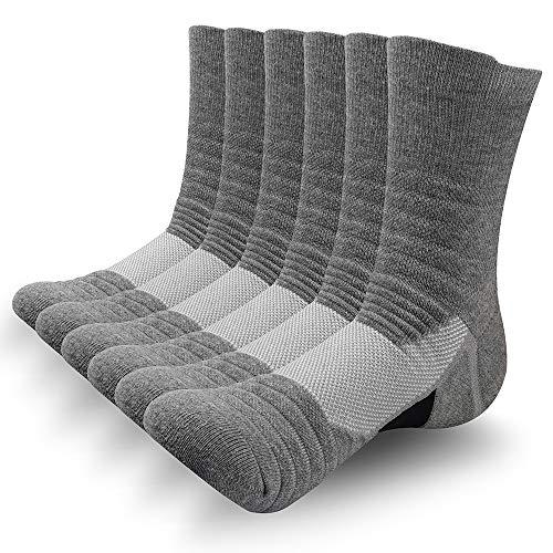 SUNWIND Unisex 6 Paar Sportsocken Atmungsaktiv Gepolsterte Lauftrainer Crew Socken Komfortable Athletische Wadensocken für Herren & Damen (Grau, UK 6-8 (EU 39-42))