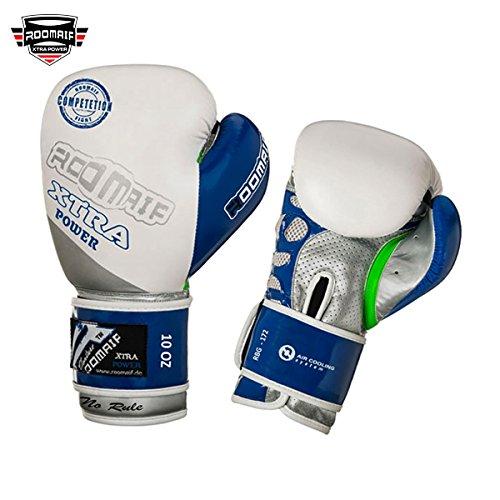 ROOMAIF - Guantes de Boxeo Sparring Entrenamiento Mitones Muay Thai Kick Boxing MMA Boxeo ES (Blanco Azul, 10 OZ)