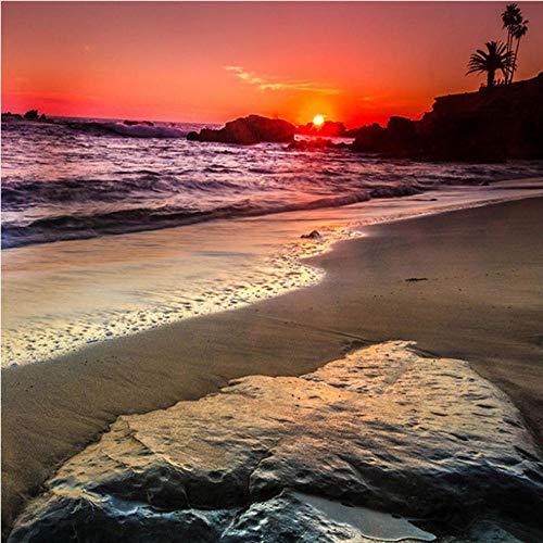 Fotobehang zonsondergang op het strand, moderne 3D-wandschilderingen, vliesbehang voor woonkamer, slaapkamer, kantoor, hal, decoratie, poster 250x175cm
