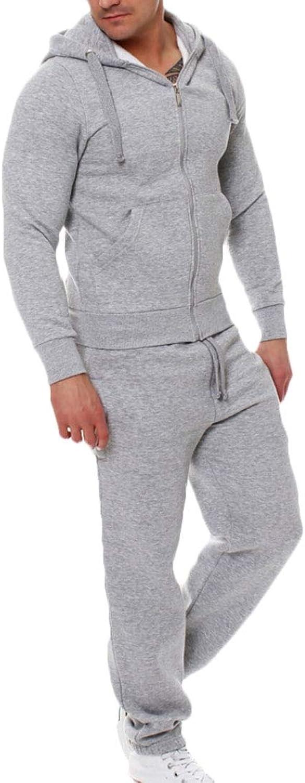 Desolateness Men Zip Fleece Tracksuit Athletic Jogging Sweatsuit Activewear Hooded Top