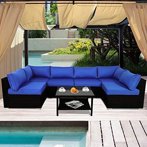 Patio Sofa Outdoor Rattan Couch Wicker 7PCS Sectional Conversation Sofa Lawn Garden Patio Furniture Set New Black Royal Blue Cushion
