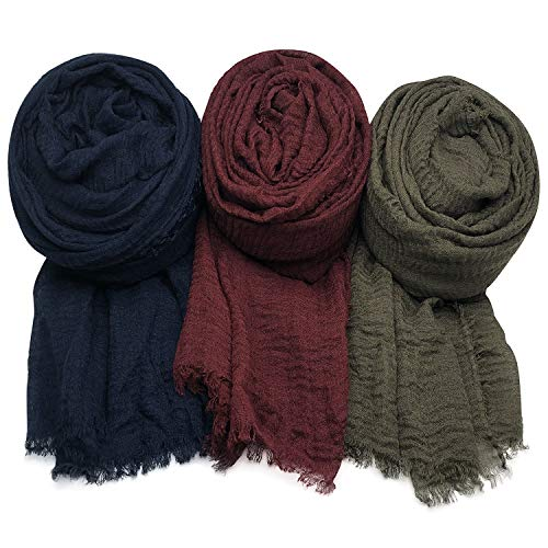 AxeSickle Women Scarf Shawl for All Season 3PCS Scarve Wrap Head Scarve B.