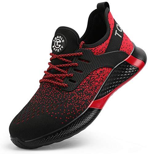 AONEGOLD Sicherheitsschuhe Herren Damen Arbeitsschuhe S3 mit Stahlkappe Sneaker, Leicht Atmungsaktive Schutzschuhe Sportlich Sneaker(Red, 43)