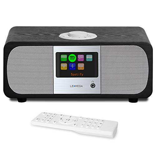 LEMEGA M3+ Smart Music System (2.1 Stereo) mit Wi-Fi, Internetradio, Spotify, Bluetooth, DLNA, DAB, DAB+, UKW-Radio, Uhr, Wecker, Voreinstellungen und drahtloser App-Steuerung - Schwarze Eiche