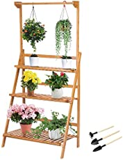 Michellda Blomställ, 3 nivåer växtställ blomhylla växthylla växttrappa växtstege bambu och trä blomstege växthylla med höjdjusterbar hängande stång utomhus inomhus