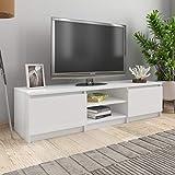 UnfadeMemory Mueble para TV Moderno,Mesa para TV,Mueble de hogar,con 2 Cajones y 2 Compartimentos Abiertos,Estilo Clásico,Madera Aglomerada (Blanco Brillante, 140x40x35,5cm)