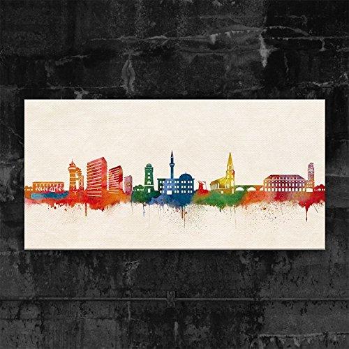 Skyline Mülheim an der Ruhr by DiChyk (div. Größen) - Kunst Druck auf Leinwand - Bild fertig auf Keilrahmen ! Graffiti Like Banksy Art Gemälde Kun (50x100cm)