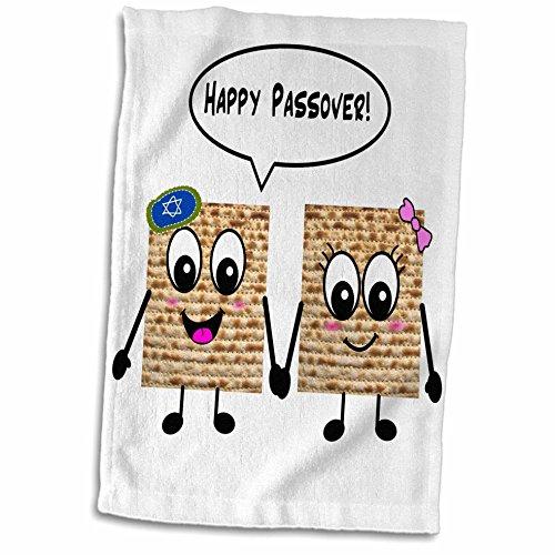 3D Rose Passover Süß Smiley Matzah Cartoon Happy Smiling Matzot für Pesach-jüdische Urlaub Geschenke Handtuch Sport Handtuch 15x22