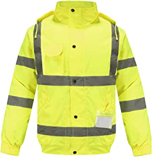 Waterproof Reflective Rain Jacket, A-SAFETY, Winter Warm Reflective Safety Jacket High Visibility with Hideaway Hood and Stand Up Collar, Yellow, XL
