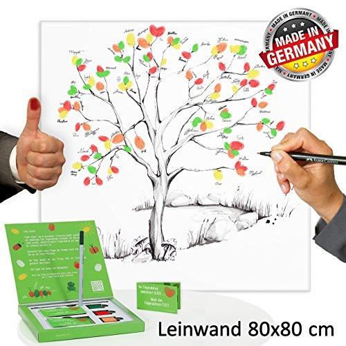 galleryy.net Fingerabdruck Baum Leinwand 80x80 cm INKL Zubehör-Set GRATIS (Stempelkissen+Stift+Anleitung+Hochzeitsbuch+...) - Wedding Tree Zeichenstil grau - Wedding Tree