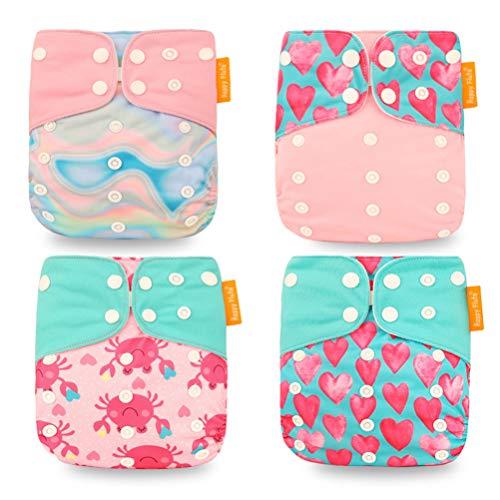 HahaGo Baby Stoffwindel waschbar wiederverwendbare Windeln All-in-One-Taschenwindel für die meisten Babys und Kleinkinder (4PCS,Rosa Liebe)