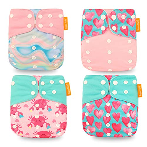 HahaGo 4PCS Baby Cloth Diaper Washable Reusable Diapers Insert All-in-One Pocket Nappy for Most Babies and Toddlers (Pink Love)
