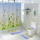 Vlejoy Creativa Mariposa De Impresión a Prueba De Agua Cortina De Ducha Antideslizante Alfombra Baño Baño Set Puerta Estera 4 Piezas
