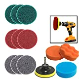 JOQINEER 13 Pieces Drill Power Scrubber Brush Scouring Pads & Sponge Cleaning Kit-All Purpose Cleaner Scrubbing Cordless Drill for Cleaning Pool Tile, Sinks,Bathtub, Ceramic, Polishing, Automobile