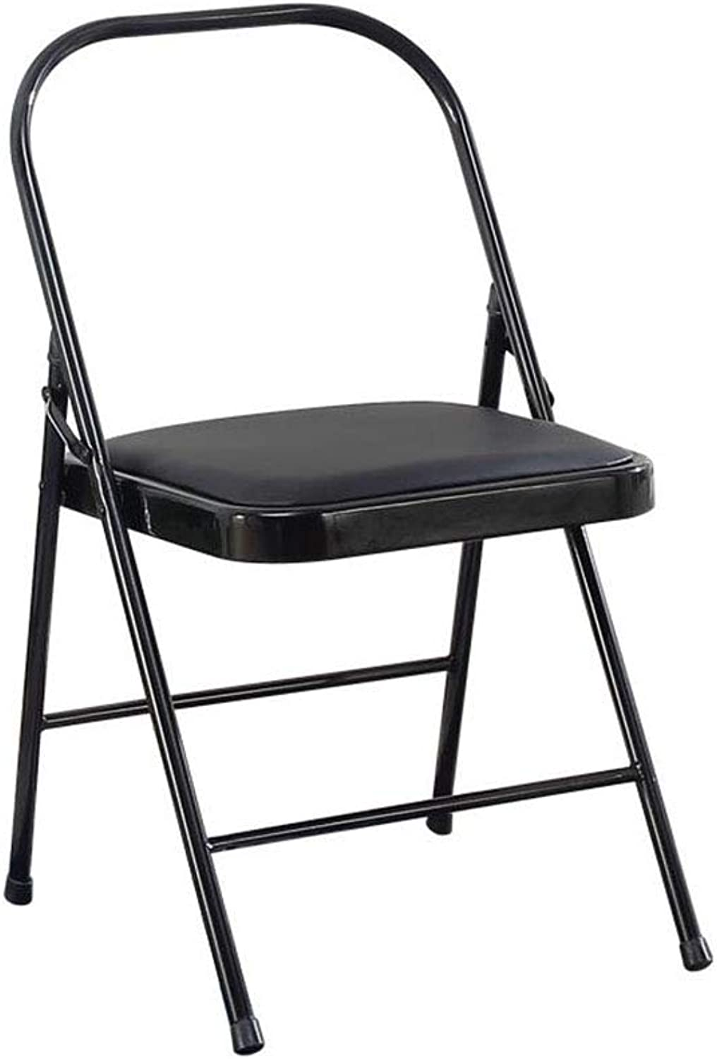 Folding Chair Office Desk Chair Black Padded Steel Metal + Faux Leather