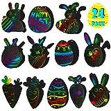 FiGoal Paquete de 24 Tema de Pascua Tarjetas de rascar Color del Arco Iris Mano Arte y artesanía Proyecto DIY Clase de niños Juguete Regalo de Fiesta Artículos de Fiesta Juegos de colección Premios