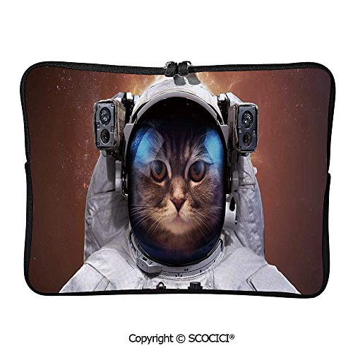 YOLIYANA Cat in Space Astronaut Cosmonaut Suit with Milkyway Backdrop Laptop Sleeve Case Neoprene Carrying Bag for Any Tablet/Notebook 11.6 inch/12 inch