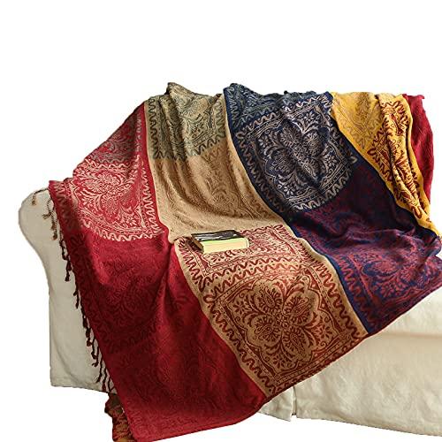 Moking Manta de sofá de chenilla, funda de sofá, toalla, decoración de borlas, patrón de costura multicolor